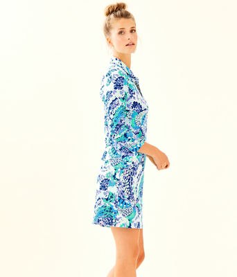 UPF 50+ Ansley Polo Dress, Turquoise Oasis Wave After Wave, large 2