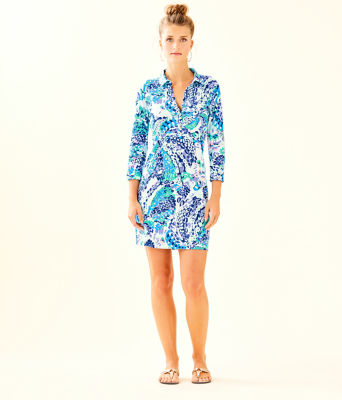 UPF 50+ Ansley Polo Dress, Turquoise Oasis Wave After Wave, large 3