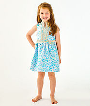 Girls Mini Franci Dress, Bermuda Blue Lagoon Jacquard, large