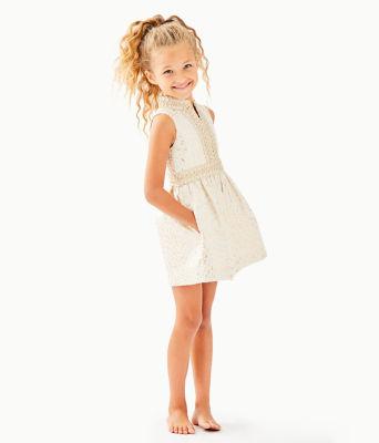 Girls Mini Franci Dress, Gold Metallic Lagoon Jacquard, large 0