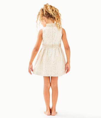 Girls Mini Franci Dress, Gold Metallic Lagoon Jacquard, large 1