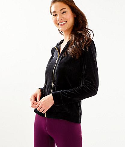 Larina Velour Zip-Up, Onyx, large 0