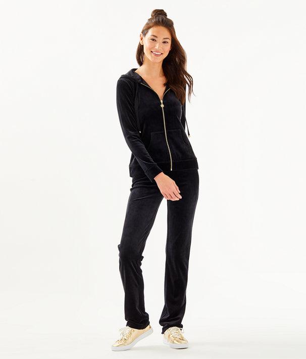 Larina Velour Zip-Up, Onyx, large