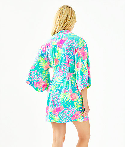 Elaine Velour Robe, Multi Swizzle In Reduced, large 1