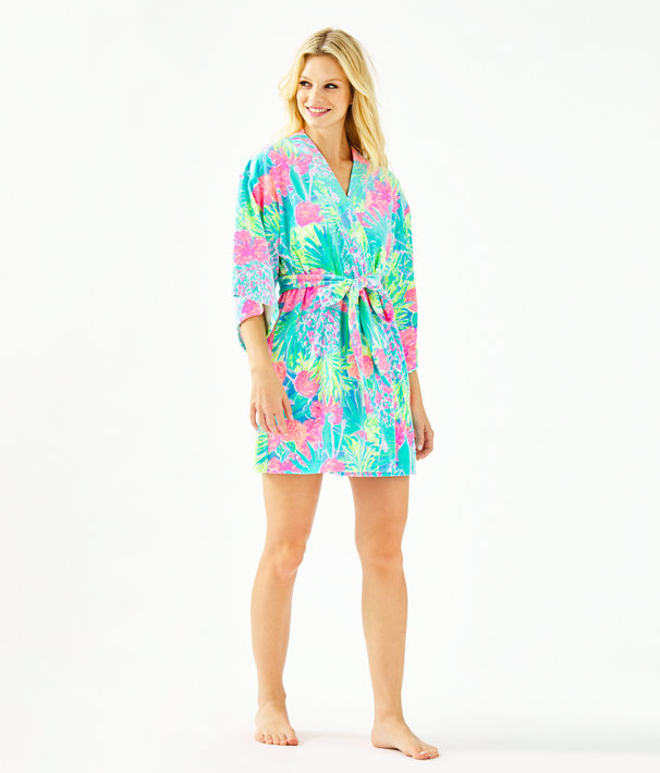 Elaine Velour Robe, Multi Swizzle In Reduced, large