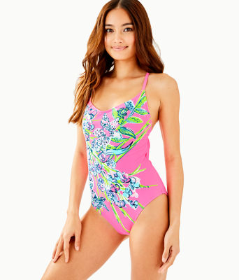 Azalea One-Piece Swimsuit, Pink Tropics Sway This Way Eng Swim One Piece, large