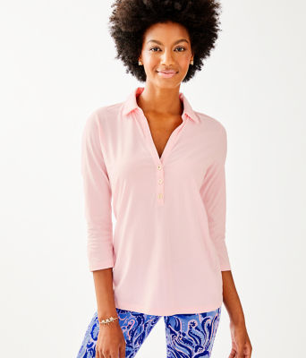 Ansley Polo Top, Melon Fig Tint, large 0