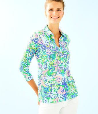 Ansley Polo Top, Multi Feline Good, large 0