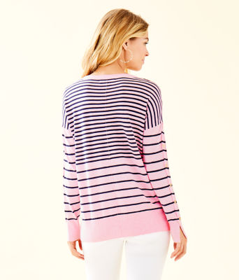 Melenie Sweater, Heathered Pink Tropics Tint Amore Stripe, large 1