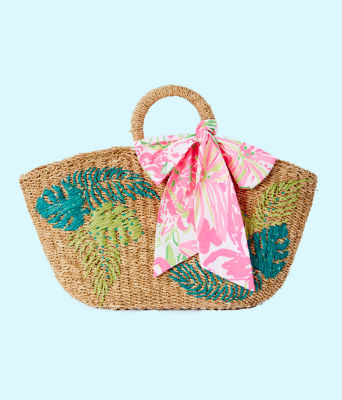 Flora Straw Tote, Natural Flora Straw Tote, large 0