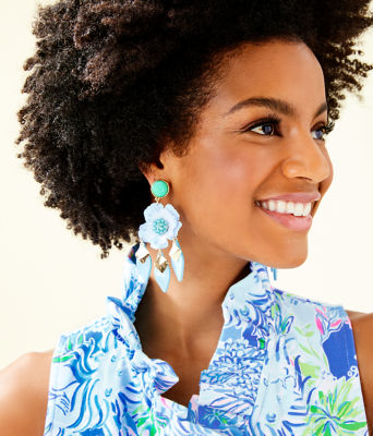 Garden Gem Statement Earrings, Bali Blue, large 1