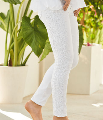 "29"" South Ocean Skinny Crop with Lace, Resort White, large 4"