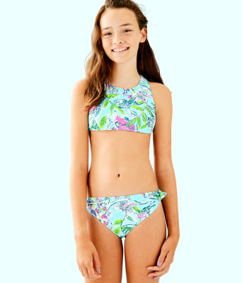 UPF 50+ Girls Maisie Bikini, Bali Blue Sway This Way Swim, large