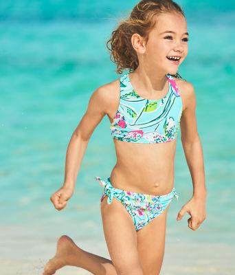 UPF 50+ Girls Maisie Bikini, Bali Blue Sway This Way Swim, large 2