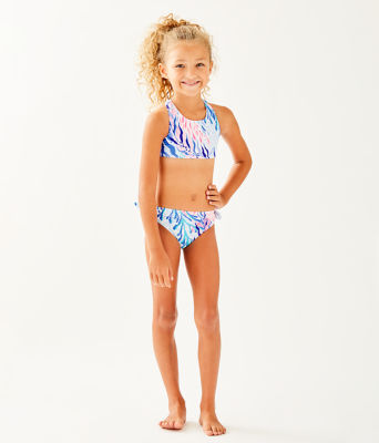UPF 50+ Girls Maisie Bikini, Crew Blue Tint Kaleidoscope Coral, large 0