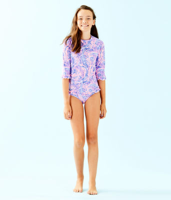UPF 50+ Girls Clara Rashguard Swim Set, Coastal Blue Maybe Gator, large 2