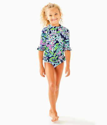 UPF 50+ Girls Clara Rashguard Swim Set, Deep Sea Navy Sway This Way Swim, large