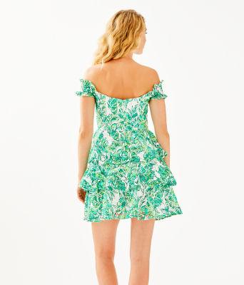 Cicely Off-The-Shoulder Dress, Resort White Flamingle, large