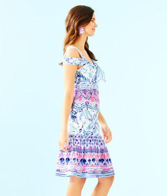Iva Midi Dress, Resort White Flock Together Engineered Dress, large 2