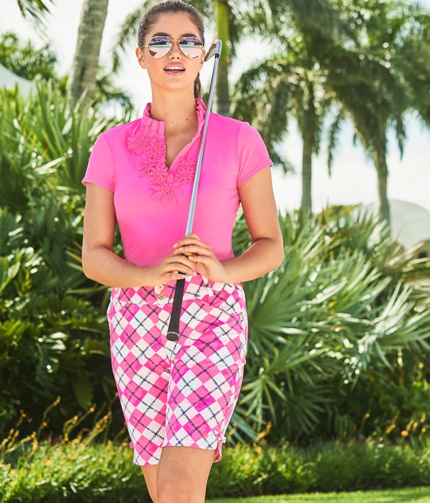 8d20c3b35d9c74 ... UPF 50+ Luxletic Frida Flower Polo Top, Pink Tropics, large ...