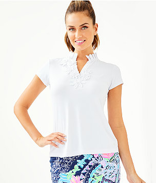 UPF 50+ Luxletic Frida Flower Polo Top, Resort White, large