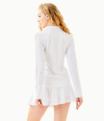 Luxletic Conelly Tennis Jacket, Resort White Nylon Tennis Monkey Knit Jacquard, large