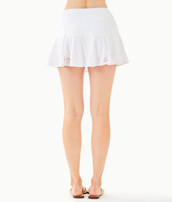 "Luxletic 13"" Coquina Tennis Skort, Resort White Nylon Tennis Monkey Knit Jacquard, large"