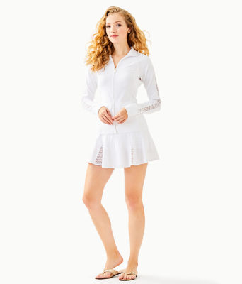 "Luxletic 13"" Coquina Tennis Skort, Resort White Nylon Tennis Monkey Knit Jacquard, large 3"