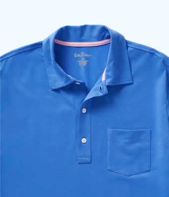 Mens Polo Shirt, Coastal Blue, large