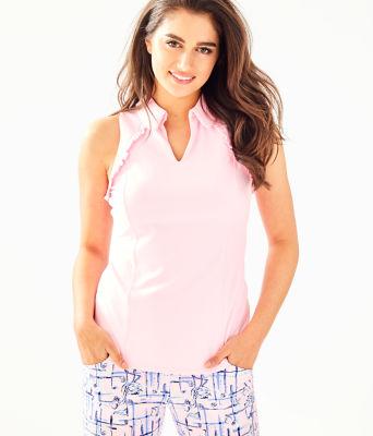 UPF 50+ Luxletic Martina Polo Top, Pink Tropics Tint, large
