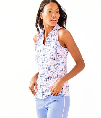 UPF 50+ Luxletic Martina Polo Top, Pink Tropics Tint Talk Birdie To Me, large 0