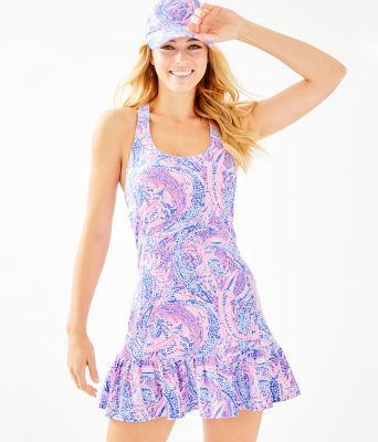 UPF 50+ Meryl Nylon Ace Tennis Dress, Coastal Blue Maybe Gator, large
