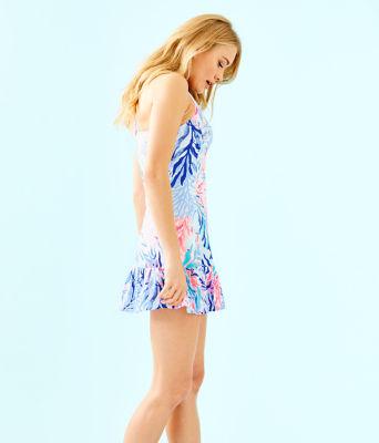 UPF 50+ Meryl Nylon Ace Tennis Dress, Crew Blue Tint Kaleidoscope Coral, large 2