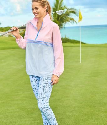"UPF 50+ Luxletic 28"" Corso Golf Pant, Crew Blue Tint Talk Birdie To Me, large"