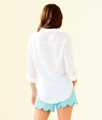 Sea View Button Down Top, Resort White, large 1