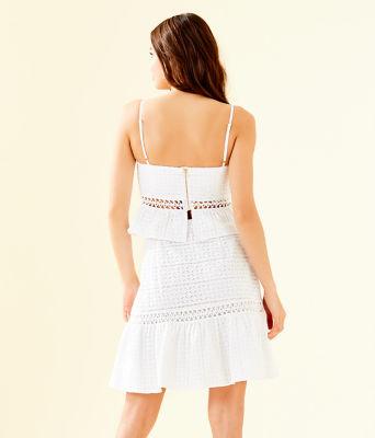 Jan Two Piece Skirt Set, Resort White Striped Eyelet, large 1