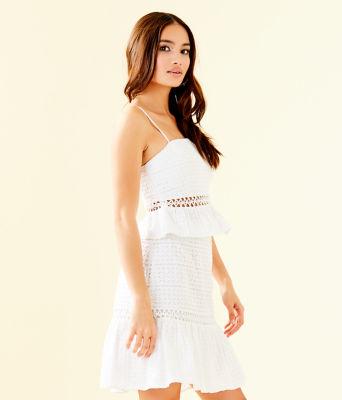 Jan Two Piece Skirt Set, Resort White Striped Eyelet, large 2