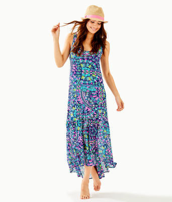 Camellia Cover-Up, Inky Navy Glow And Flow, large