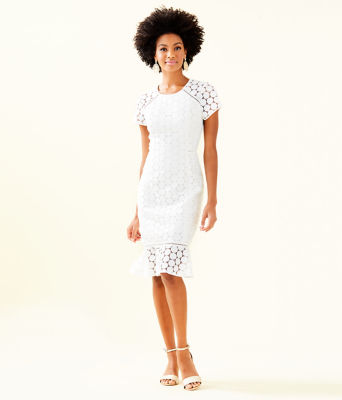 Aliza Midi Dress, Resort White Polka Dot Lace, large 0