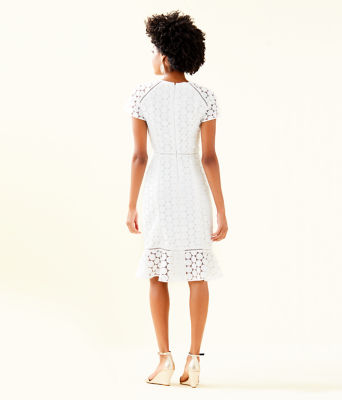Aliza Midi Dress, Resort White Polka Dot Lace, large