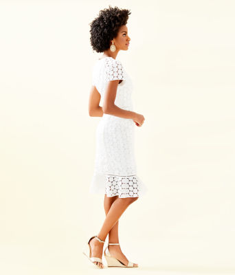 Aliza Midi Dress, Resort White Polka Dot Lace, large 2