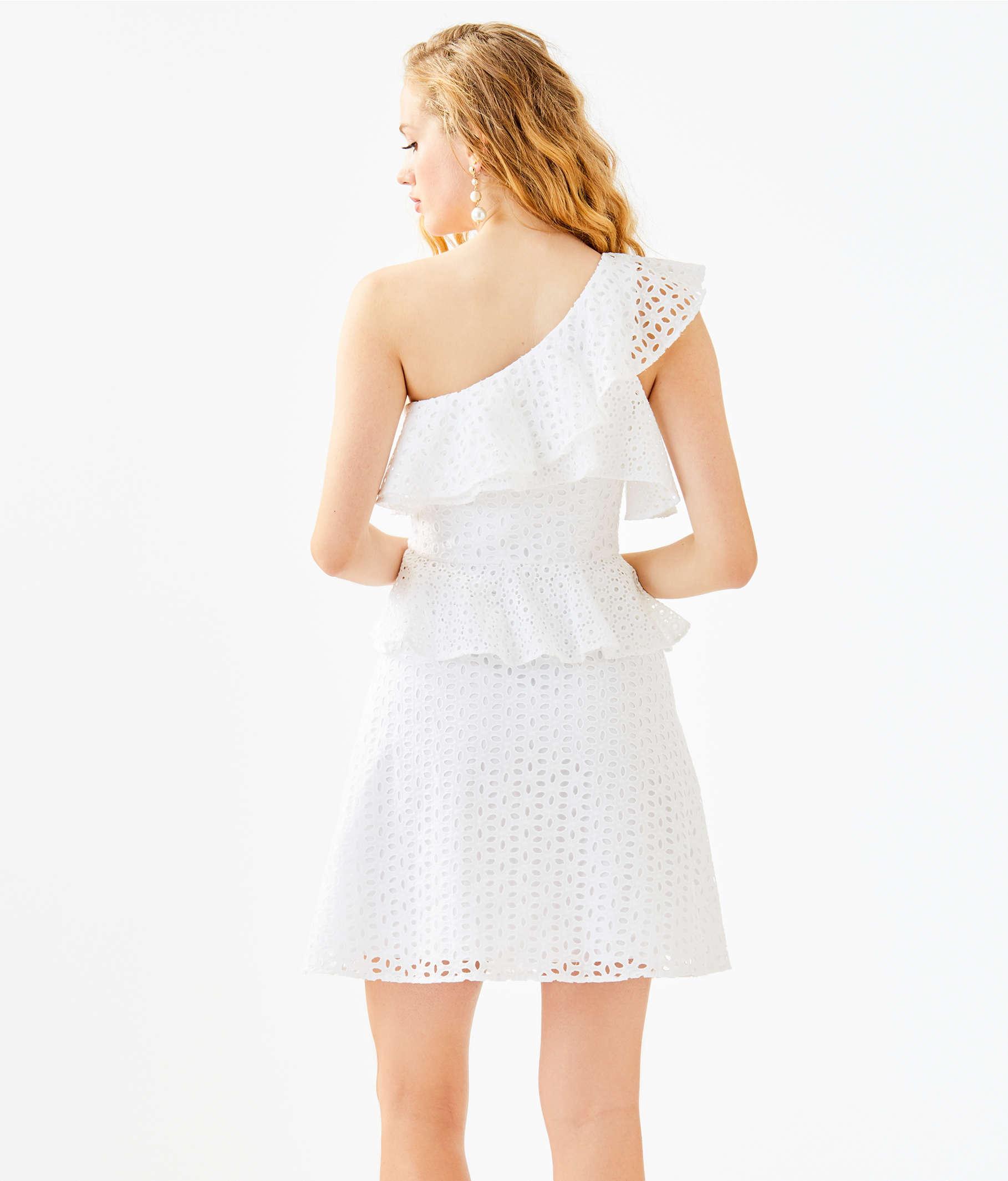 82810956c3748 ... Josey One Shoulder Dress, Resort White Oval Flower Petal Eyelet, large  ...