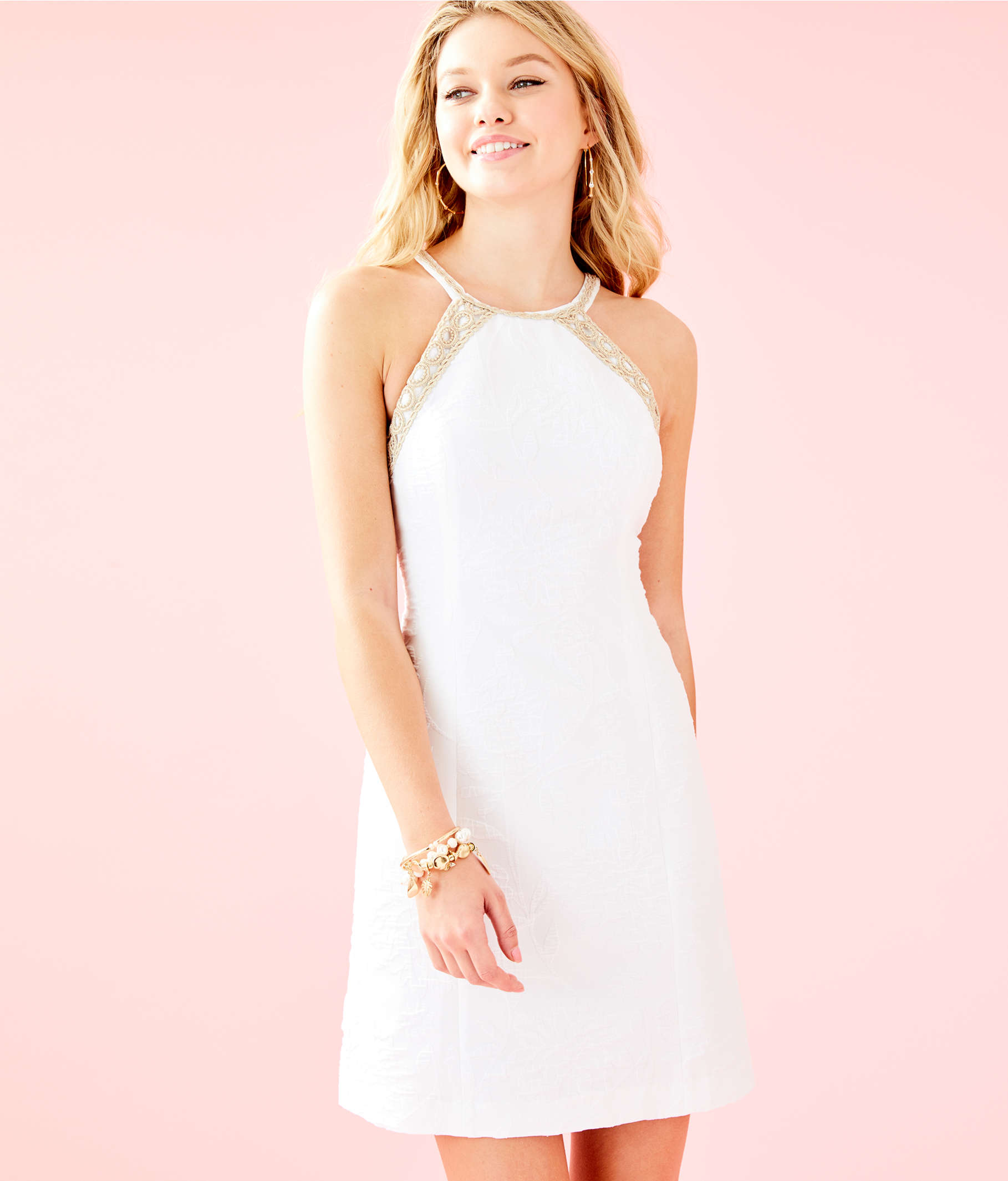 5156ef7c76bdb3 ... Pearl Stretch Shift Dress, Resort White Caliente Pucker Jacquard, large  ...