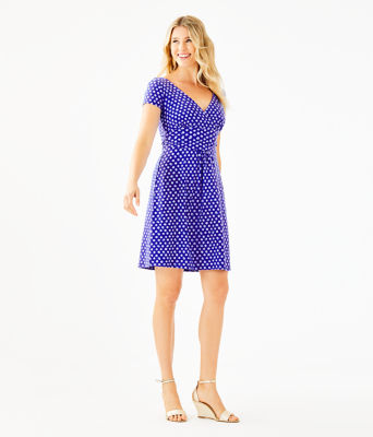 Winslow Dress, Royal Purple Spotted, large 3