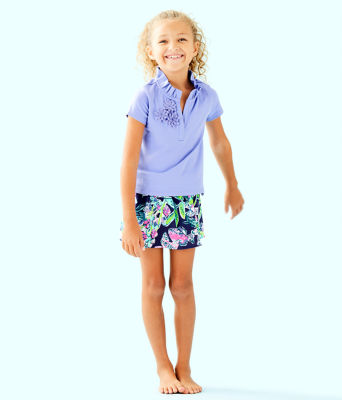 Girls Thierry Polo Top, Blue Hyacinth, large 2