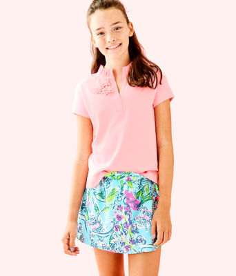 Girls Thierry Polo Top, Coral Reef Tint, large