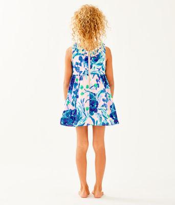 Girls Georgina Dress, Pink Tropics Tint Sweet Pea, large