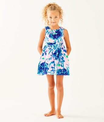 Girls Georgina Dress, Pink Tropics Tint Sweet Pea, large 2