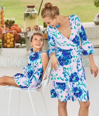 Girls Georgina Dress, Pink Tropics Tint Sweet Pea, large 3