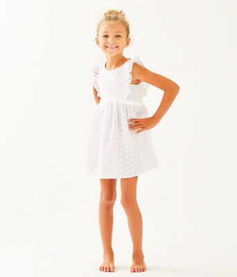 Girls Madelina Dress, Resort White Oval Flower Petal Eyelet, large 0